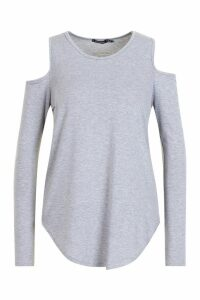 Womens Long Sleeve Cold Shoulder Top - Grey - 16, Grey