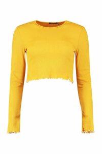Womens Lettuce Hem Contrast Long Sleeve Rib Top - yellow - 16, Yellow
