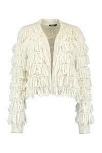 Womens Fringed Shaggy Knit Cardigan - white - M, White