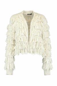 Womens Fringed Shaggy Knit Cardigan - white - S, White