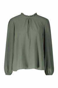 Womens Frill Neck Long Sleeve Woven Blouse - green - 10, Green
