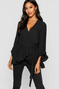 Womens Ruffle Hem Wrap Blouse - black - 16, Black