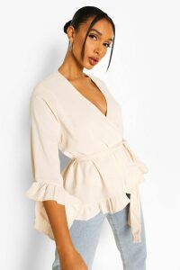 Womens Ruffle Hem Wrap Blouse - Cream - 10, Cream