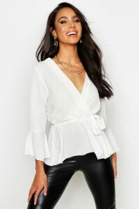 Womens Wrap Over Tie Blouse - White - 10, White