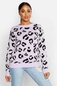 Womens Leopard Knitted Jumper - Purple - L, Purple
