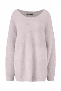 Womens Premium Oversized Feather Knit - beige - M/L, Beige