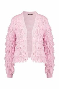 Womens Fringed Shaggy Knit Cardigan - Pink - M, Pink