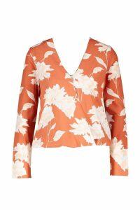 Womens Floral Printed Wrap Front Blouse - orange - 14, Orange