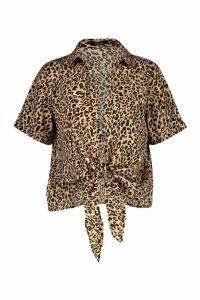 Womens Satin Leopard Knot Front Sleeved Shirt - Beige - 16, Beige