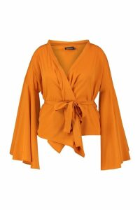 Womens Plus Wide Sleeve Wrap Tie Blouse - orange - 24, Orange