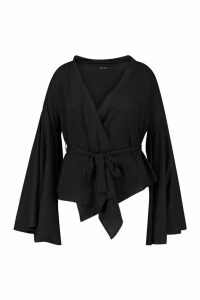 Womens Plus Wide Sleeve Wrap Tie Blouse - black - 20, Black