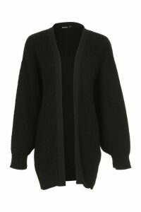 Womens Slouchy Oversized Balloon Sleeve Cardigan - black - L, Black