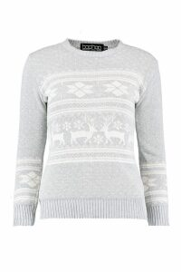 Womens Reindeer Fairisle Christmas Jumper - grey - M/L, Grey