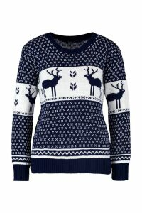 Womens Snowflake and Reindeer Knitted Jumper - navy - S/M, Navy