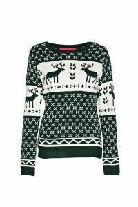 Womens Snowflake and Reindeer Knitted Jumper - green - M/L, Green