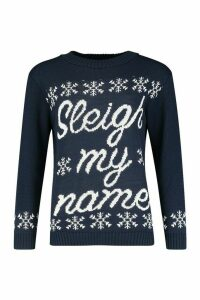 Womens Sleigh My Name Snowflake Slogan Christmas Jumper - navy - M/L, Navy