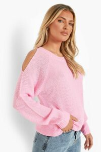 Womens Cold Shoulder Moss Stitch Jumper - Pink - L, Pink