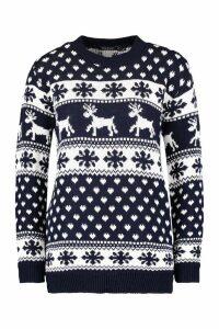 Womens Reindeer & Snowflake Christmas Jumper - navy - S/M, Navy