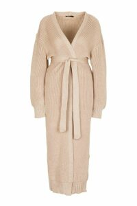 Womens Maxi Belted Knitted Cardigan - beige - M, Beige
