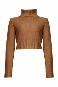 Womens roll/polo neck Crop Jumper - beige - M, Beige