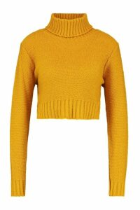 Womens roll/polo neck Crop Jumper - yellow - L, Yellow