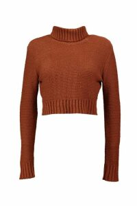 Womens roll/polo neck Crop Jumper - brown - L, Brown