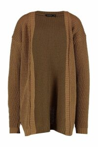 Womens Edge To Edge Waffle Knit Cardigan - beige - M, Beige