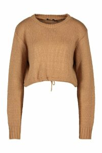Womens Ruched Hem Soft Knit Jumper - beige - M, Beige
