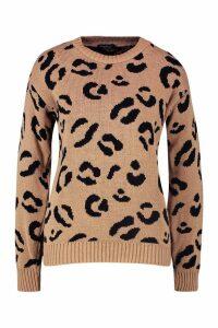 Womens Leopard Knitted Jumper - beige - M, Beige