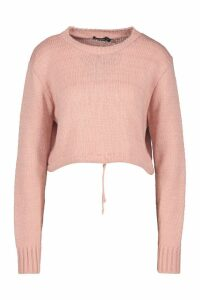 Womens Ruched Hem Soft Knit Jumper - pink - M, Pink