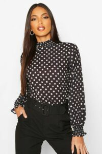 Womens Polka Dot High Neck Blouse - black - 8, Black