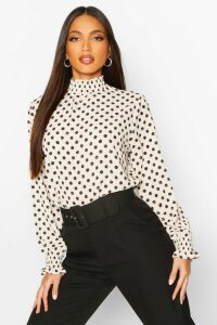Womens Polka Dot High Neck Blouse - White - 12, White
