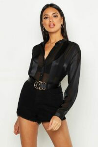 Womens Satin Stripe Collarless Shirt - black - 6, Black