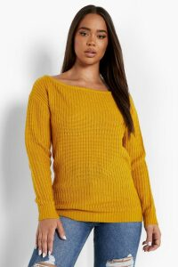Womens Slash Neck Fisherman Jumper - yellow - S, Yellow