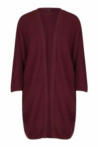 Womens Cocoon Oversized Rib Knit Cardigan - purple - M/L, Purple