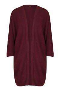 Womens Cocoon Oversized Rib Knit Cardigan - purple - M/L, Purple