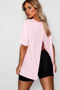 Womens Plus Jersey Split Open Back T-Shirt - Pink - 24, Pink