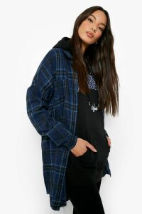 Womens Oversized Frayed Check Shirt - navy - 10, Navy