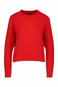 Womens Open Knit roll/polo neck Jumper - red - L, Red