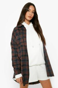 Womens Oversized Frayed Check Shirt - brown - 12, Brown
