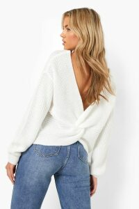 Womens Crop Twist Jumper - white - M/L, White