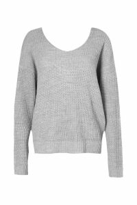 Womens Crop Twist Jumper - grey - M/L, Grey