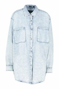 Womens Acid Wash Oversized Denim Shirt - blue - M/L, Blue