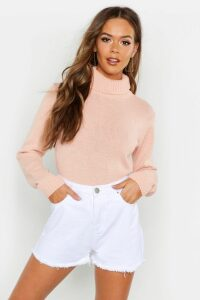 Womens Roll Neck Crop Jumper - pink - M, Pink