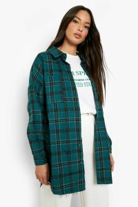 Womens Oversized Frayed Check Shirt - Green - 12, Green