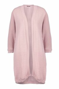 Womens Cocoon Oversized Rib Knit Cardigan - pink - S/M, Pink