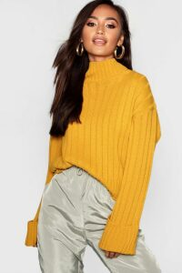 Womens Petite Rib Knit High Neck Jumper - yellow - S/M, Yellow