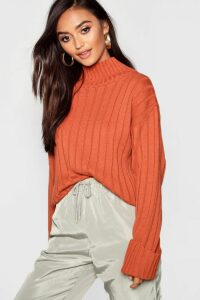 Womens Petite Rib Knit High Neck Jumper - orange - 14, Orange