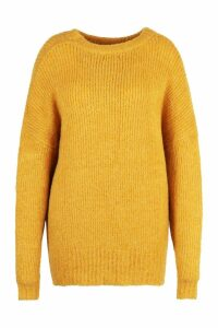 Womens Plus Oversized Knit Boyfriend Jumper - yellow - 16-18, Yellow