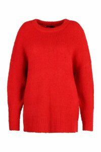 Womens Plus Oversized Knit Boyfriend Jumper - red - 24-26, Red
